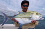 Crazy Alberto Knie with a bluefin trevaly