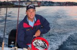 Trevor Gowdy with a bucket of herring - heading out to the fishing grounds off Glouster