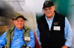 Lefty Kreh and Bob Clouser pose at a sport fishing show