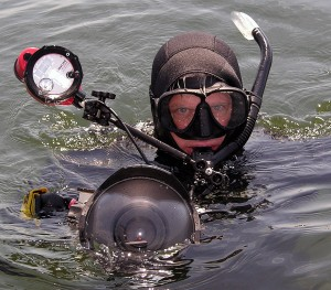 Mike Laptew with Underwater Camera and Freediving Gear