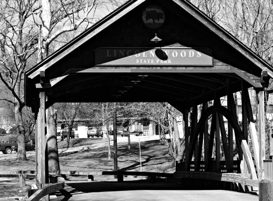 Covered bridge at the entrance to Lincoln Woods State Park
