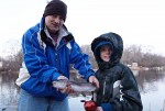 father and son fishing fun