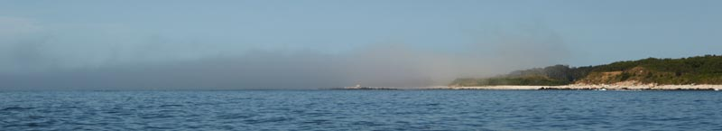 Fishers Island shrouded by a fog bank